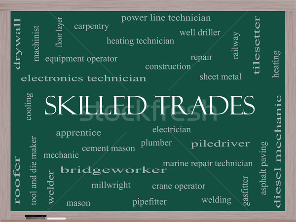 Skilled Trades Word Cloud Concept on a Blackboard Stock photo © mybaitshop