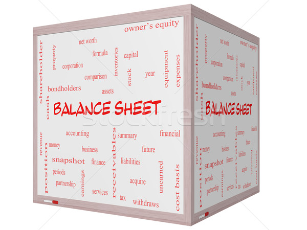 Stock photo: Balance Sheet Word Cloud Concept on a 3D cube Whiteboard
