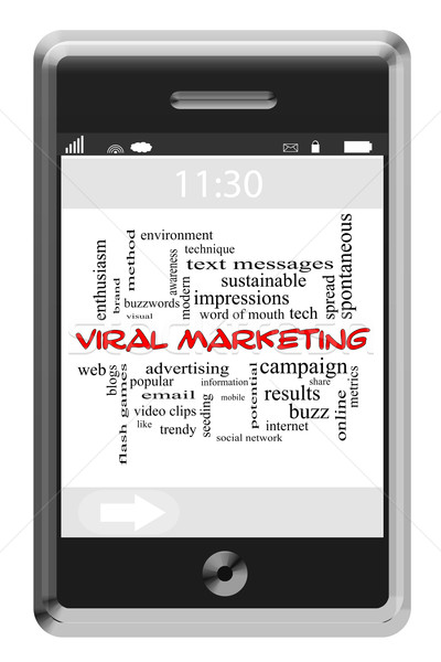 Viral Marketing Word Cloud Concept on Touchscreen Phone Stock photo © mybaitshop