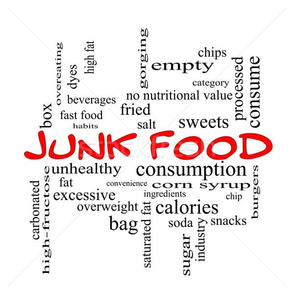 Egészségtelen étel szófelhő piros nagyszerű chip harapnivalók Stock fotó © mybaitshop