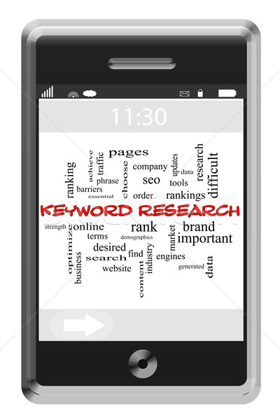 Keyword Research Word Cloud Concept on Touchscreen Phone Stock photo © mybaitshop