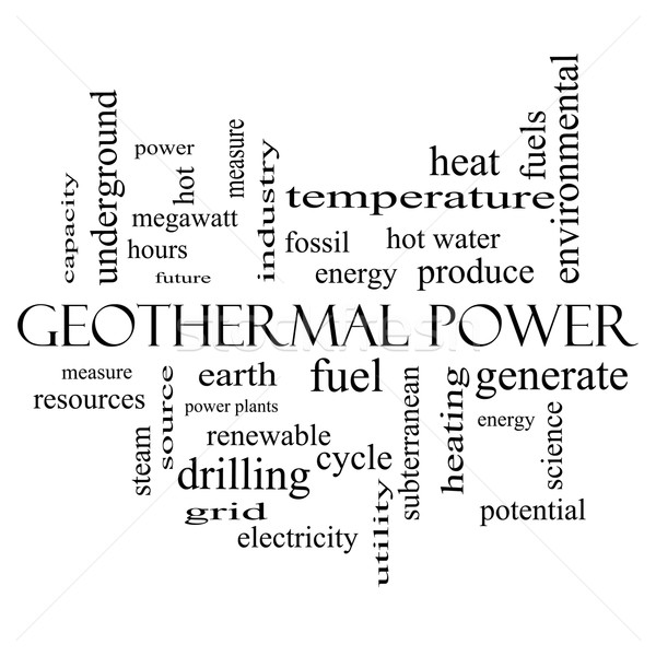 Geothermal Power Word Cloud Concept in black and white Stock photo © mybaitshop