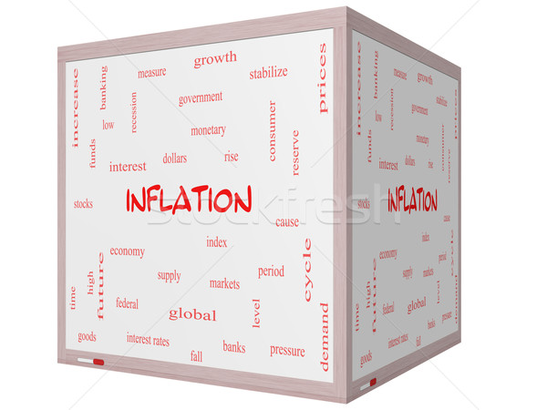 Inflation Word Cloud Concept on a 3D cube Whiteboard Stock photo © mybaitshop