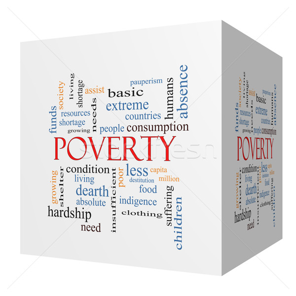 Poverty 3D cube Word Cloud Concept Stock photo © mybaitshop