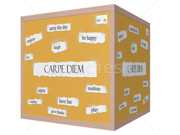 Carpe Diem 3D cube Corkboard Word Concept Stock photo © mybaitshop