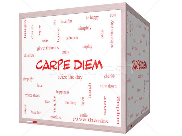 Stock photo: Carpe Diem Word Cloud Concept on a 3D cube Whiteboard