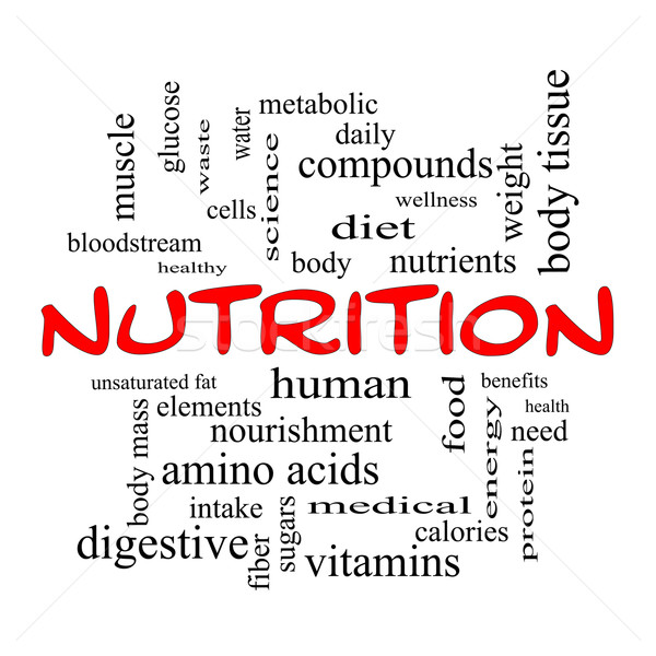 Nutrition Word Cloud Concept in red caps Stock photo © mybaitshop