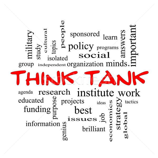 Think Tank Word Cloud Concept in red caps Stock photo © mybaitshop