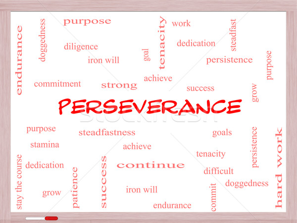 Perseverance Word Cloud Concept on a Whiteboard Stock photo © mybaitshop
