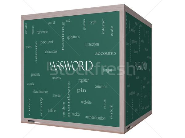 Password Word Cloud Concept on a 3D cube Blackboard Stock photo © mybaitshop