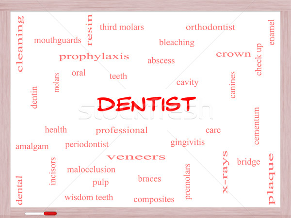 Dentist Word Cloud Concept on a Whiteboard Stock photo © mybaitshop
