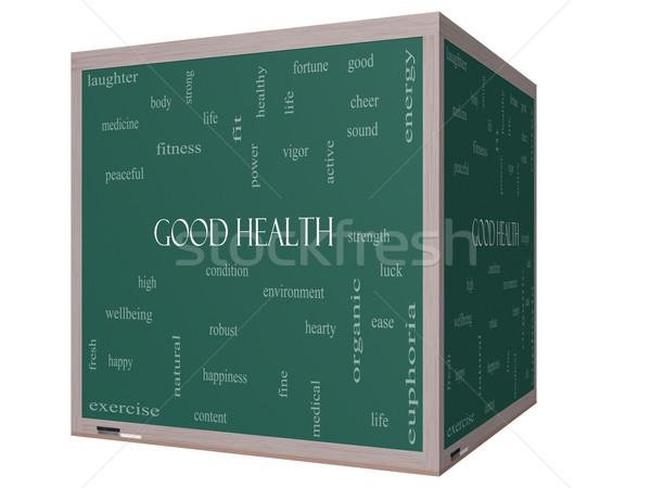 Good Health Word Cloud Concept on a 3D cube Blackboard Stock photo © mybaitshop