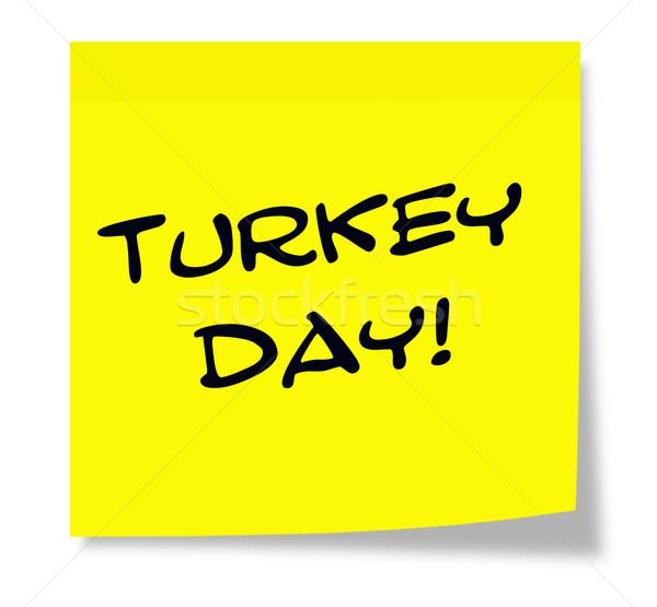 Törökország nap öntapadó jegyzet írott citromsárga papír Stock fotó © mybaitshop