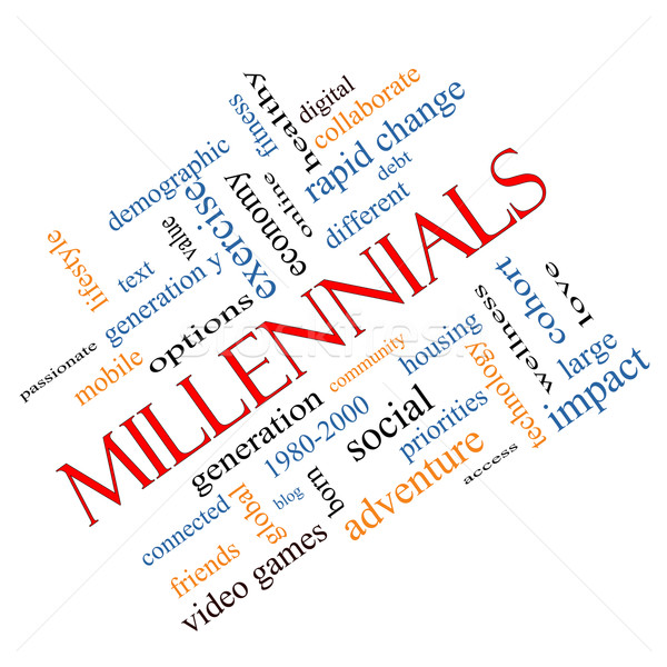 Millennials Word Cloud Concept angled Stock photo © mybaitshop