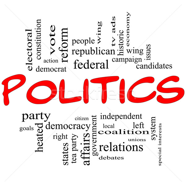 Politics Word Cloud Concept in Red Letters Stock photo © mybaitshop