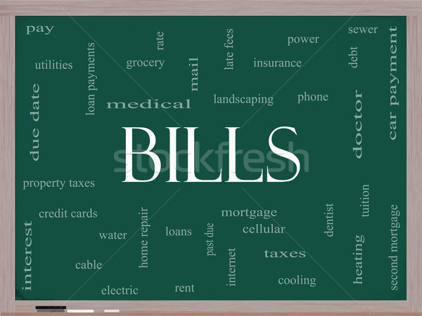 Bills Word Cloud Concept on a Blackboard Stock photo © mybaitshop