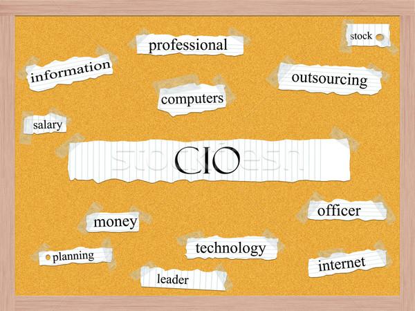 CIO Corkboard Word Concept Stock photo © mybaitshop