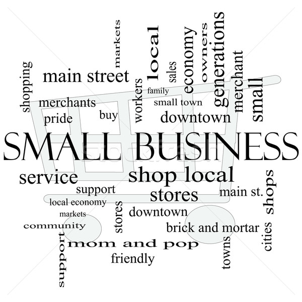 Small Business Word Cloud Concept with Shopping Cart Stock photo © mybaitshop