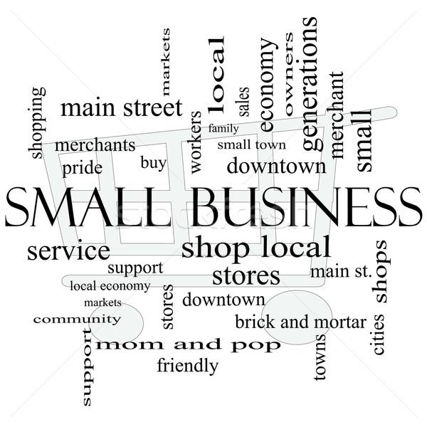 Empresa de pequeno porte nuvem da palavra carrinho de compras compras local Foto stock © mybaitshop