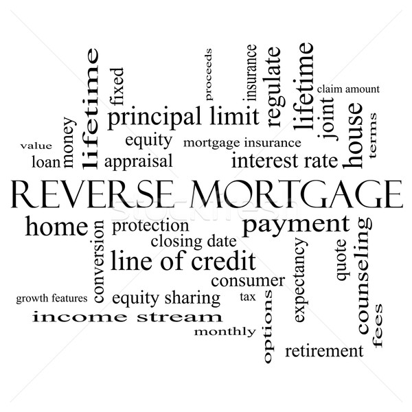 Reverse Mortgage Word Cloud Concept in black and white Stock photo © mybaitshop