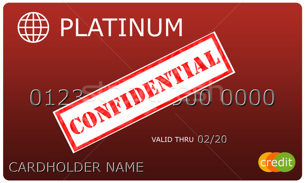 Platinum red Credit Card with Confidential sticker Stock photo © mybaitshop