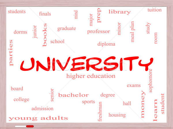 University Word Cloud Concept on a Whiteboard Stock photo © mybaitshop