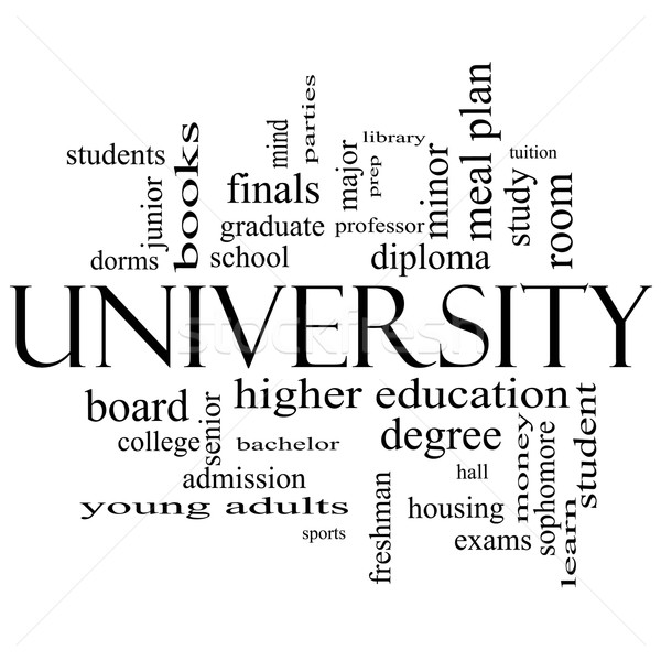 University Word Cloud Concept in black and white Stock photo © mybaitshop