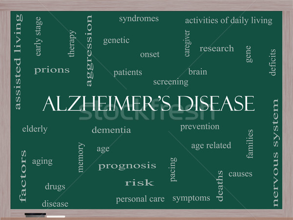 Alzheimer's Disease Word Cloud Concept on a Blackboard Stock photo © mybaitshop