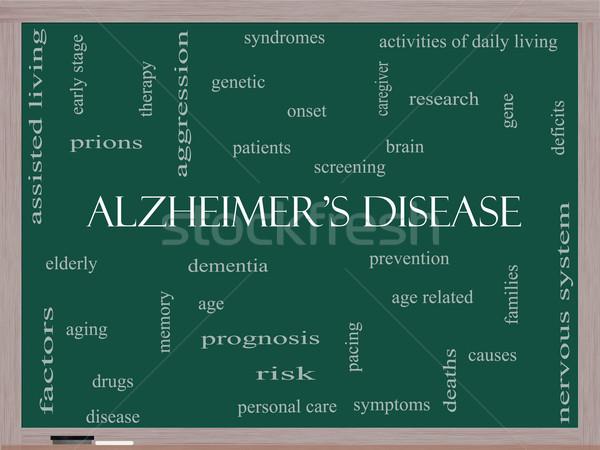 Alzheimer-kór szófelhő iskolatábla nagyszerű idős genetikai Stock fotó © mybaitshop