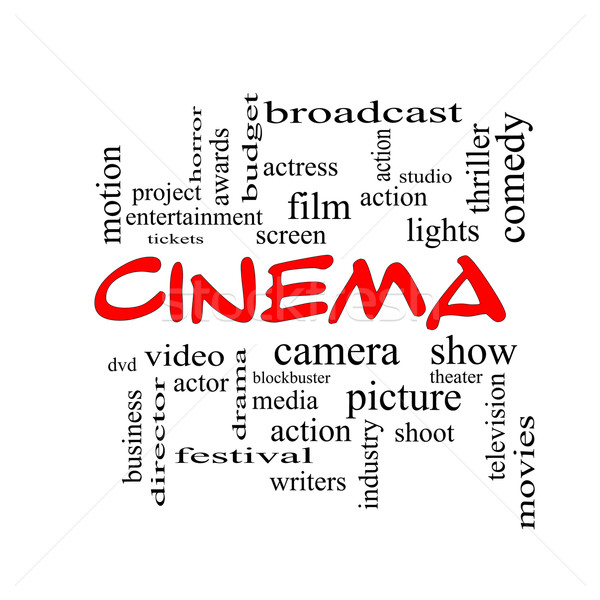 Cinema Word Cloud Concept in red caps Stock photo © mybaitshop
