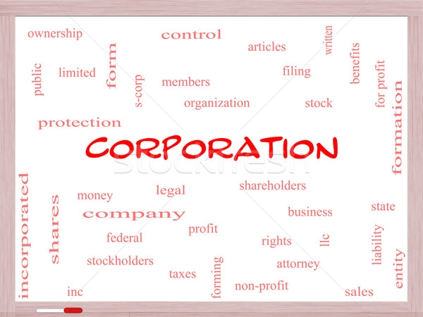 Corporation Word Cloud Concept on a Whiteboard Stock photo © mybaitshop