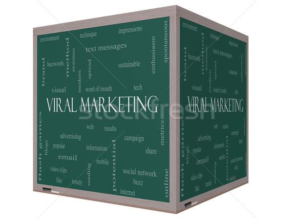 Viral Marketing Word Cloud Concept on a 3D cube Blackboard Stock photo © mybaitshop