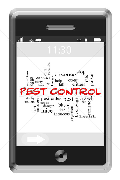 Pest Control Word Cloud Concept on Touchscreen Phone Stock photo © mybaitshop