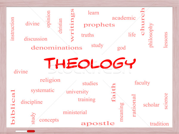 Theology Word Cloud Concept on a Whiteboard Stock photo © mybaitshop
