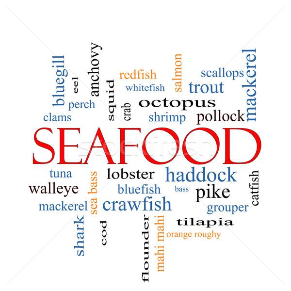 морепродуктов слово облако омаров креветок больше Сток-фото © mybaitshop