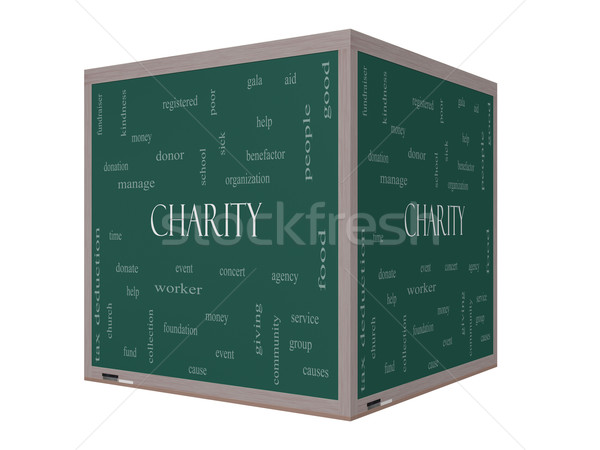 Charity Word Cloud Concept on a 3D cube Blackboard Stock photo © mybaitshop