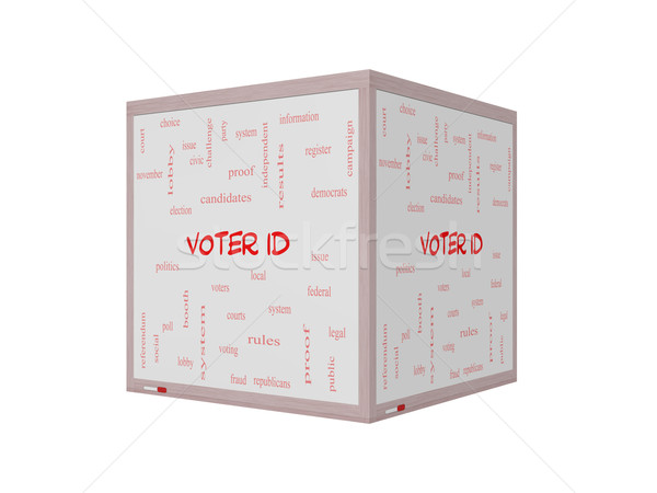 Voter ID Word Cloud Concept on a 3D Whiteboard Stock photo © mybaitshop