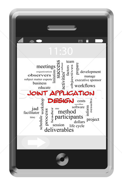Joint Application Design Word Cloud on Touchscreen phone Stock photo © mybaitshop