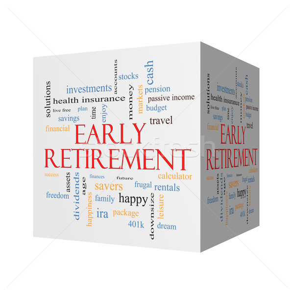 Early Retirement 3D cube Word Cloud Concept Stock photo © mybaitshop