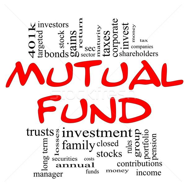Mutual Fund Word Cloud Concept in red & black Stock photo © mybaitshop