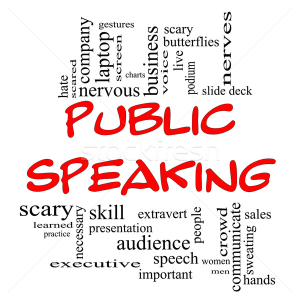 Public Speaking Word Cloud Concept in Red Caps Stock photo © mybaitshop
