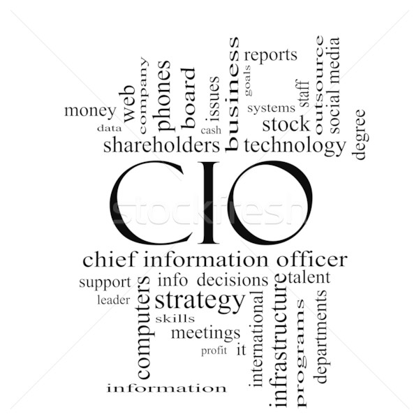 CIO Word Cloud Concept in black and white Stock photo © mybaitshop