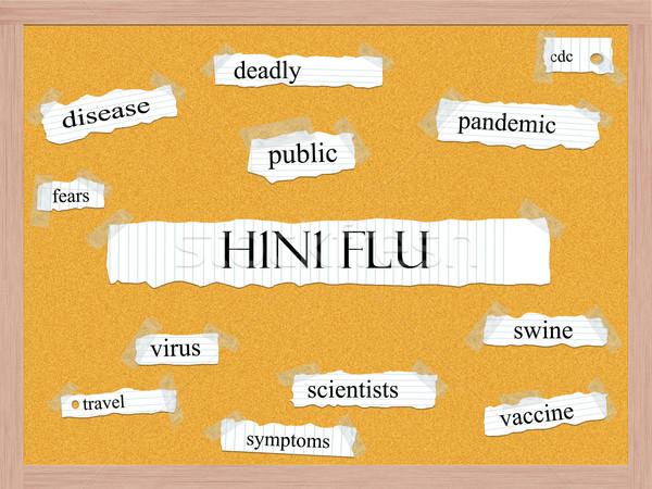 H1n1 грипп слово болезнь свинья Сток-фото © mybaitshop