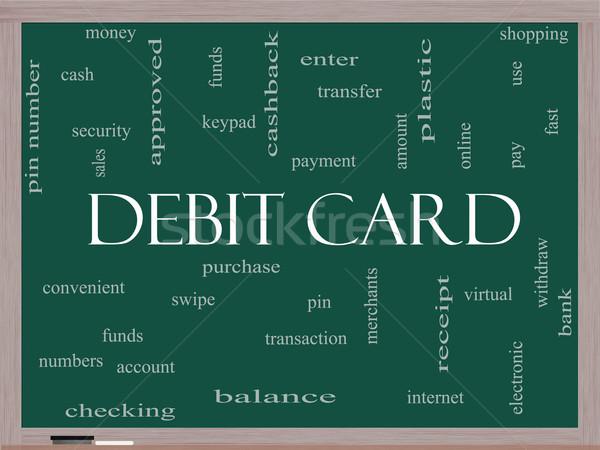 Debitkártya szófelhő iskolatábla nagyszerű fizetés tő Stock fotó © mybaitshop