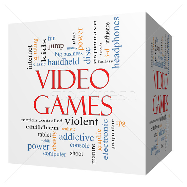 Video Games 3D cube Word Cloud Concept Stock photo © mybaitshop