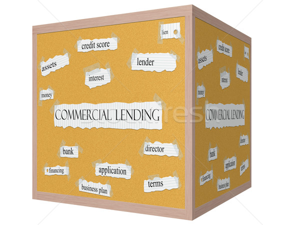 Commercial Lending 3D cube Corkboard Word Concept Stock photo © mybaitshop