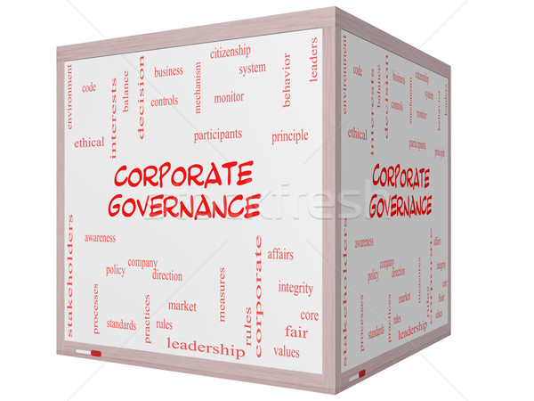 Corporate Governance Word Cloud Concept on a 3D cube Whiteboard Stock photo © mybaitshop