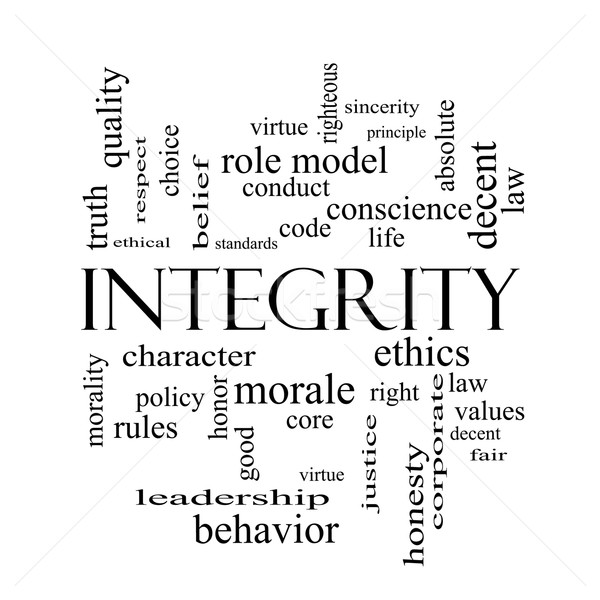 Integrity Word Cloud Concept in black and white Stock photo © mybaitshop