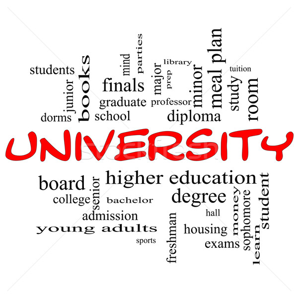 University Word Cloud Concept in red caps Stock photo © mybaitshop