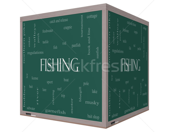 Fishing Word Cloud Concept on a 3D cube Blackboard Stock photo © mybaitshop